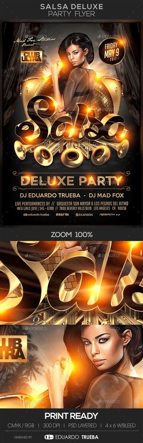 salsa deluxe party flyer  images party flyer
