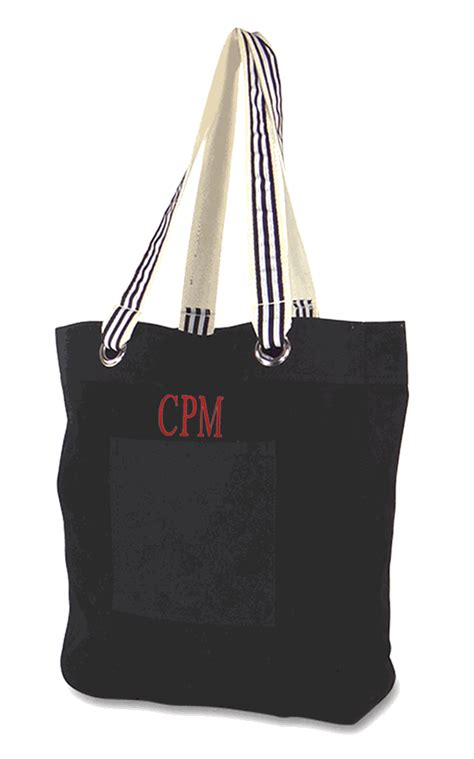 monogram tall tote bag  embroidered personalization