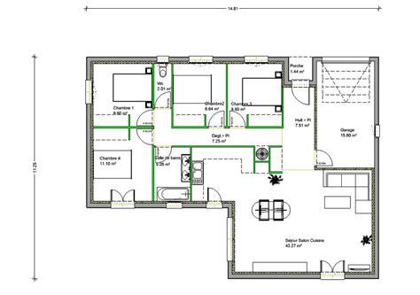 plan maison 3 chambres 1 bureau plan de maison en l de plain pied gratuit evtod