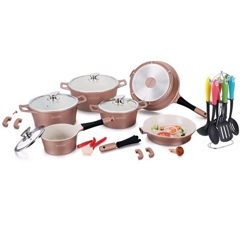 royalty   piece ceramic coating cookware set copper