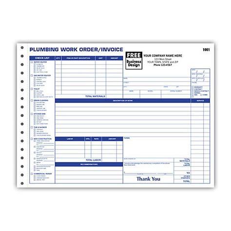 plumbing contractor invoice forms work order custom