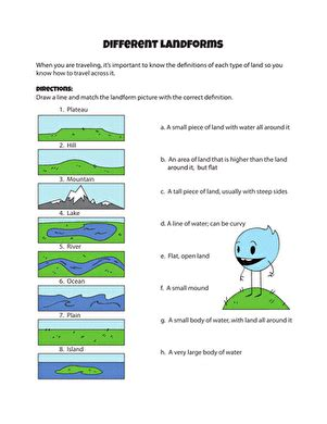 different landforms worksheet education
