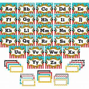 Carnival alphabet word wall bulletin board display set for Bulletin board template word