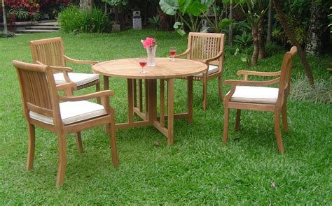 Ebay Patio Furniture Canada by 5 Pc Dining Teak Set Garden Outdoor Patio Pool Furniture
