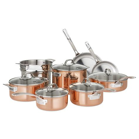 refurbished viking culinary   copper stainless steel cookware set  piece walmart
