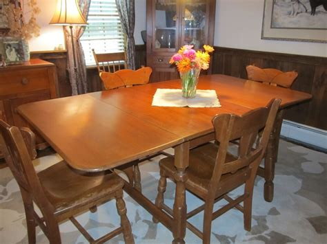 vintage temple stuart tesco solid maple drop leaf dining table chairs ebay