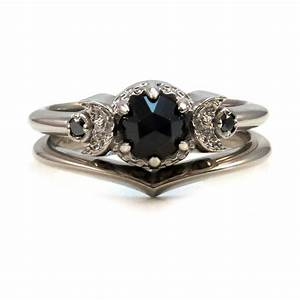 crescent moon engagement ring set 14k palladium white With wedding ring sets with black diamonds