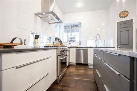 slab front kitchen cabinets modern white and grey slab door kitchen flat front 5305