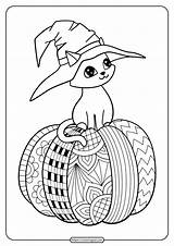 Coloring Cat Halloween Witch Hat Pumpkin Doodle Adults Whatsapp Tweet Shutterstock sketch template