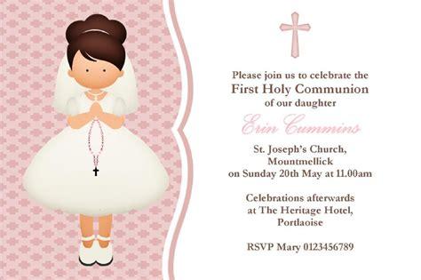 personalised  communion invitations girl  design