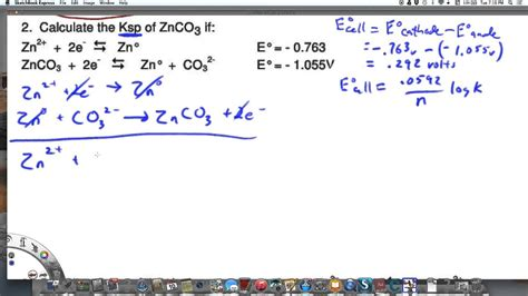calculating ksp  zinc carbonate  electrode potentials youtube