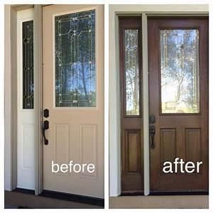 My fiberglass front door had wood grain so I decided to