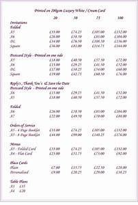 Sue white secretarial services wedding stationery price list for Wedding invitations prices uk