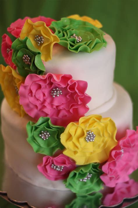 Pink Green Yellow Baby Shower pink green and yellow baby shower cake cakecentral