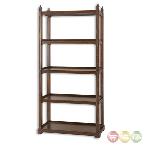 Etagere Wood by Brearly Bourbon Finish Wooden Display Etagere 24126