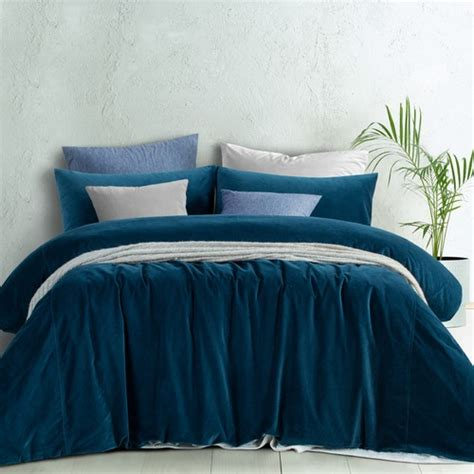 riverland blue cotton velvet quilt cover set temple