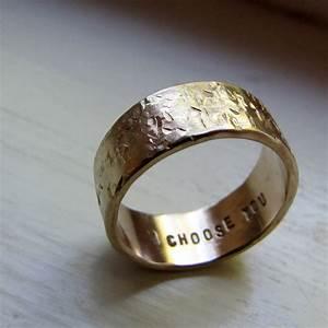 Men39s Wedding Band 14k Gold Unique Rustic Distressed