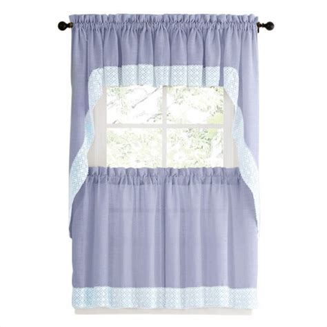 blue country style kitchen curtains  white daisy lace
