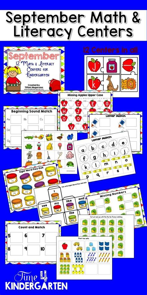 September Math And Literacy Centers For Kindergarten  Back To, Back To School And Literacy Centers