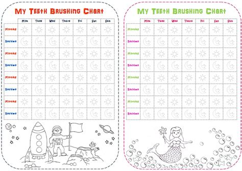 Tooth Brushing Charts Free