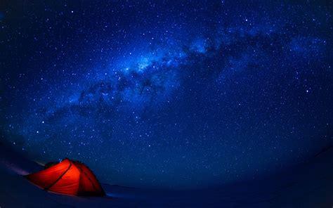 stars tent landscape milky way night blue sky