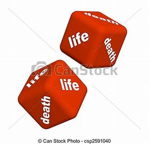 Stock Illustration of Life and death - Playing cubes with ...