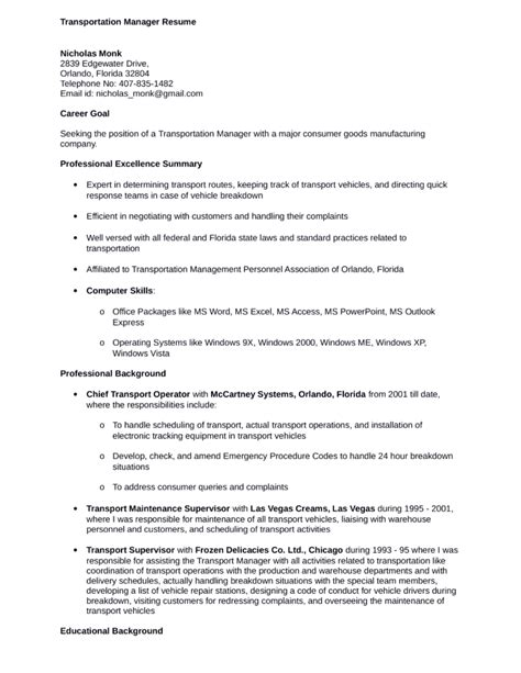 professional transportation manager resume template