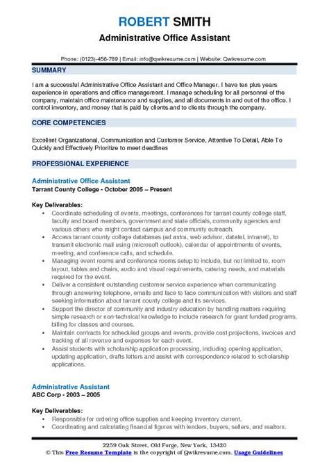 Office Assistant Resume Summary by Administrative Resume Sles Exles And Tips