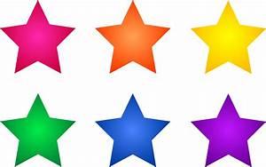 Set of Six Colorful Stars - Free Clip Art