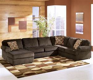 Ashley furniture vista chocolate casual 3 piece for 3 piece brown sectional sofa