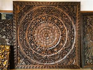 Carved wood panels wall art car interior design