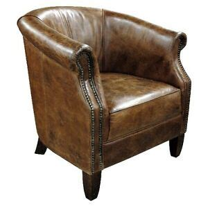 Distressed Leather Armchair by 31 Quot W Club Armchair Vintage Brown Leather Distressed Nail