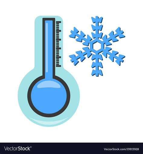 Thermometer with cold icon weather label for web Vector Image