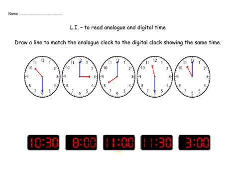 Matching Analogue And Digital Clocks By Nickybo  Teaching Resources Tes