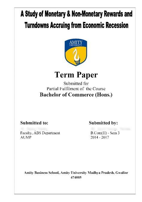 research paper rewards accruing  economic recession