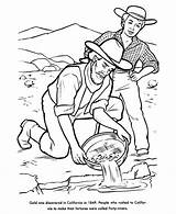 Gold Coloring Pages California Rush 1849 History Miner Panning Miners Mining Printables Draw Printable Verse Children Usa Bible Colouring Google sketch template