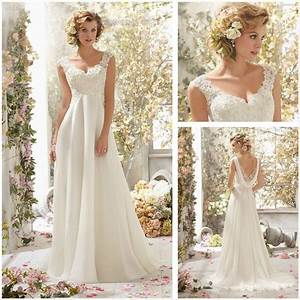 new white ivory chiffon long wedding dress bridal gown With ebay wedding dresses size 8