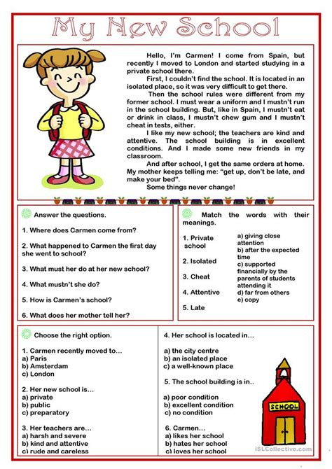 my new school reading comprehension worksheet free esl