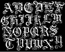 The Gallery For Fancy Old English Letters Pics Photos Old English Lettering Tattoos Old English 1 Typography Alphabet Ornamental Renaissance Medieval 27 Old English Gothic Silver Name Necklace The Name Necklace