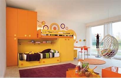 Bedroom Modern Kid Orange Yellow Children Bed