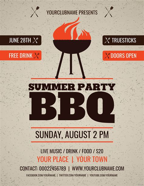 summer party bbq flyer template  adobe photoshop