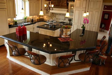 granite top kitchen island with seating the granite gurus absolute black granite kitchen