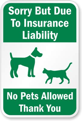 due  insurance liability  pets allowed sign sku