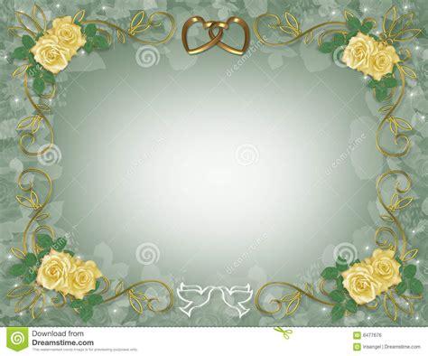 wedding invitation border yellow roses royalty  stock