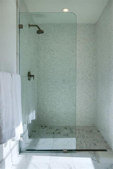 square marble shower floor tiles transitional bathroom