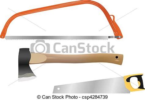 set  vector wood cutting tools