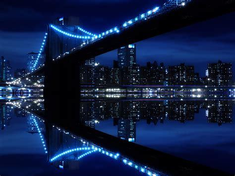 blue city night reflection wallpaper  background image