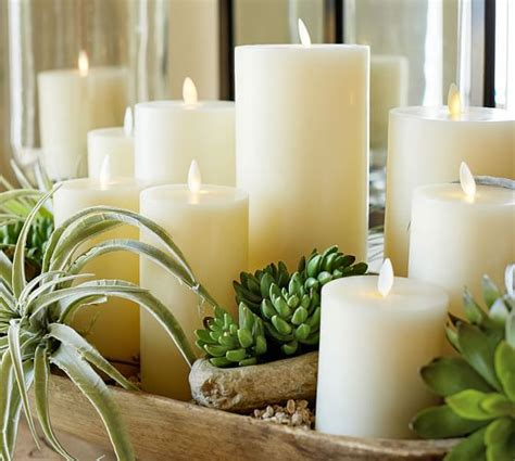 pottery barn candles premium flickering flameless wax pillar candle ivory