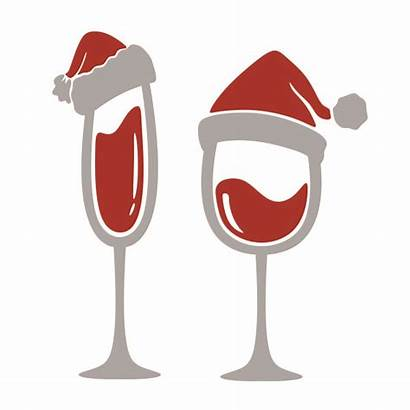 Wine Glass Santa Christmas Hat Svg Cuttable