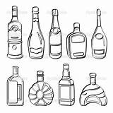 Alcohol Bottles Drawing Liquor Illustration Collection Sketch Different Coloring Wine Drawings Pages Contains Getdrawings Pdf sketch template